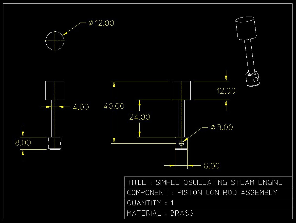 Simple Steam Engine Piston Assembly Diagram Click For Larger Drawing