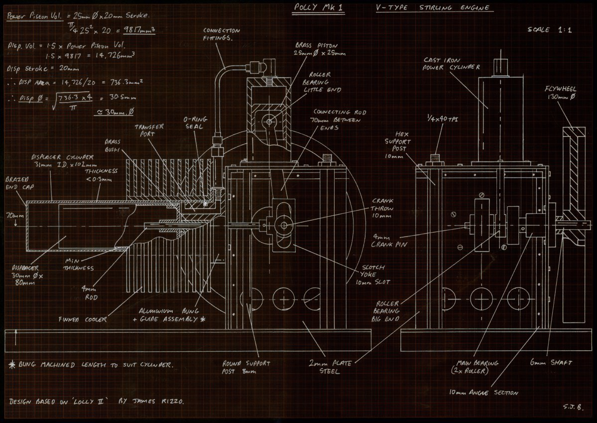 Drawings index for Stirling engine plans design blueprints